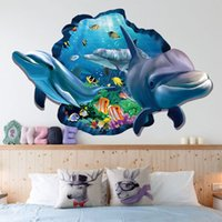 Wholesale Wall Decal Sea - XH-9215 Sea Aquarium Dolphin 3D Wall Stickers Removable Wall Poster DIY AnimalDecoration Accessories for Kids Rooms Wall Art