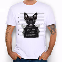 Wholesale Short Sleeve Police Shirt - New Arrival 2017 Summer Fashion French Bulldog Dog Police Dept Funny Design T Shirt Men's High Quality dog Tops Hipster Tees