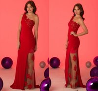 Wholesale Inexpensive One Shoulder Gowns - robes de soirée longue 2017 One Shoulder Sleeveless Sequined Applique Inexpensive Evening Dress Formal Gown Sexy Long Dress For Party ADE011