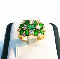 Wholesale Green Dinner Plates - Elegant Women Luxury Jewelry Evening Emerald Green gemstone14KT Yellow Gold GP Dinner Classy Ring