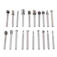 20pcs / Set 3mm HSS Woodworking Couteau Dremel Routing Wood Rotary Milling Rotary File Cutter Accessoires d'outils de sculpture