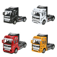 Wholesale Toy Model Pulling Trucks - 1:32 Scale Children Toy Car Alloy Truck Head Pull Back Cars Diecast Model Kids Toys New Year Collection Gift for Boys