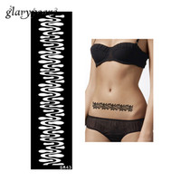 Wholesale sexy women body painting resale online - Piece Women Waist Body Art Paint Tattoo Henna Stencil Stripe Pattern Design DIY Henna Tattoo Template Sexy Product S643