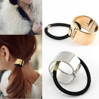 Wholesale Gold Band Hair Cuff - Hot Fashion Promotion Metal Hair Band Round Trendy Punk Metal Hair Cuff Stretch Ponytail Holder Elastic Rope Band Tie for Women