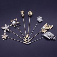 Wholesale Wholesale Apparel For Women - Men Suit Skull crown flower Brooches Skull Crystal Brooch For Women male Female Corsage Shirt Pin Scarf Buckle New Fashion Apparel Broches