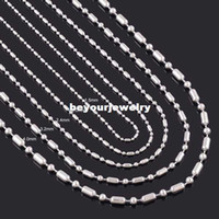 1.2mm / 1.5mm / 2mm / 2.4mm / 3.2mm / 4mm Stainless Steel Shiny Long Short Ball Bamboo Bar Linked Beads Glass Locket Necklace Chain 18
