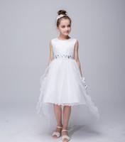Wholesale Children Evening Wear - Teenage Girl Dress 2017 Summer Brand Children Evening Princess Dress High Grade Trailing Dresses For Girls Special Occasion Wear