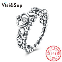 Visisap Love Crown Rings Para Mulheres Genuine 925 Standard Sterling Silver Jewelry Anel de casamento de diamante Antique Jewellery Wholesale SVR170
