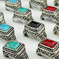 New Arrival Hot Selling retro 10pcs Mens Jewlery Mix Turquoise Vintage Silver Rings Wholesale Lots Frete Grátis A498