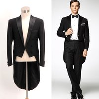 Wholesale Tuxedo Morning Coat - Formal Wedding Groom Wool Tuxedo Mens Morning Suit Swallow coat *tailored*