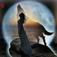 Wholesale framed oil painting girls - YGS-219 DIY 5D Diamond Embroidery The Girl The Wolf The moon Round Diamond Painting Cross Stitch Kit Mosaic Home Decor