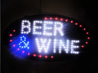 Wholesale Salon Led Neon Sign - Beer&Wine shiny LED sign neon light billboard with a hanging chain for restaurant, salon, coffe shop, bar