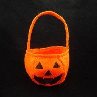 Wholesale Fabric Basket Weaving - Halloween Pumpkin Portable Non-Woven Fabric Pumpkin Bag Basket Solid Spatial Halloween Candy Bags Kids Toy Halloween Pumpkin Decorations