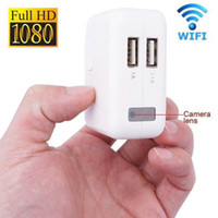 Wholesale Spy Camera Recorder Wall - Free DHL Wireless 1080P WiFi P2P wall Charger Hidden Camera Motion detection Adaptor WIFI SPY CAM Socket DVR Recorder Home Security monitor