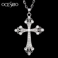 Wholesale Womens Silver Long Necklaces - Wholesale-Big Silver Cross Pendant Necklace crystal rhinestones silver long chain necklace for womens hip hop fashion jewelry nke-h77