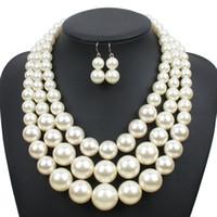 ingrosso gioielli in pietra bianca-Imitazione perla gioielli Set 2018 nuovo elegante classico esagerato a più strati perline fatti a mano collana girocollo dichiarazione donne all'ingrosso