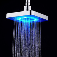 Wholesale water saving head - Hot sale bathroom Square Water Flow Adjustable Romantic Automatic LED Shower Head for Bathroom free shipping