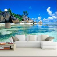 Wholesale Tv Wall Bedrooms - Wholesale-Custom 3D Mural Wallpaper Non-woven Bedroom Livig Room TV Sofa Backdrop Wall paper Ocean Sea Beach 3D Photo Wallpaper Home Decor