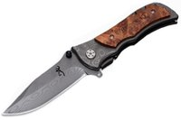 Wholesale tactical tattoo for sale - Group buy Outdoor Survival Tactical Knives Browning Folding Knife Stainless Steel Damascu Tattoo Kageki Handle Christmas gift knife B211Q