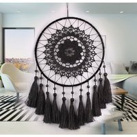 Wholesale Crochet Flower Decoration - Home Dream Catcher Net With Tassel Black White Lace Crochet Flowers Hanging Decor Ornament DIY Wedding Birthday Christmas Decorations