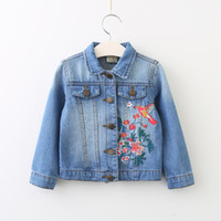 Wholesale Wholesale Girls Jean Jacket - Girls Denim Embroidery Jackets Baby Girl Wash Blue Casual Outwear Babies Autumn Fashion Jean Tops 2017 childrens clothing