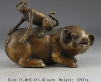 Metal carved wood pig - Delicate Chinese collection pig and monkey auspicious statue
