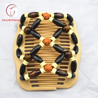 Wholesale Stretchy Double Hair Combs - 20pcs Fashion Women Lovely Milk White Comb Rose Beads Wooden Double Magic Stretchy Beaded Hair Clips Comb Brithday Xmas Gifts