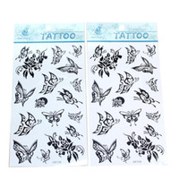 Wholesale Temporary Black Butterfly Tattoos - Wholesale-2 Sheets Women Girls Temporary Tattoo Black Butterfly Pattern Sexy Fake Temporary Tatoo Decal Body Art Decoration Costume Party