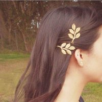Wholesale 3d Leaves - Nice Top Design Fashion Golden Alloy leaves Hair Head jewellery Hairpin Gift 3D Leaves Hair Clips Barrettes Side clips Wedding Hair Jewelry