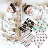 Wholesale Jacquard Super Color - Hot Selling Baby Blankets Newborn Super Soft Swaddle Wrap 2Pcs Set Swaddles+Headband Muslin Cotton Flower Aden Anais Nursery Cover