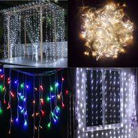 Wholesale Indoor Led Curtain Lights - Holiday decoration LED christmas lights LED curtain LED strip Christmas light Indoor outdoor using strip 3*3M 3*6M IP65 waterproof light