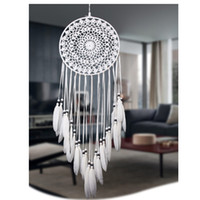 Wholesale Wedding Gift Ornaments - Handmade Lace Dream Catcher Circular With Feathers Hanging Decoration Ornament Craft Gift Crocheted White Dreamcatcher Wind Chimes