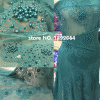 Wholesale Tulle Lace Fabric Wholesale - teal color Hot selling!High quality african cord lace tulle guipure lace fabric stones with beaded french lace fabric 5yd lot.