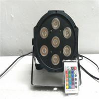 Wholesale Rgbw Led Flat Par - Envío libre y Rápido de la Etapa de DMX de control remoto Inalámbrico dmx Led Flat Par 7x12 W RGBW 4IN1 led lámpara