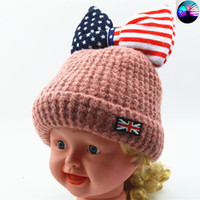 Wholesale Kids Hat Patterns Knit - Baby Hat Cute Striped USA Pattern Bow Kids Woolen Hat Children Winter Warm Crochet Knitted Cap Girls Photography Headwear Caps
