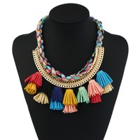 Wholesale Collar Women Exaggerated - 2017 Ethnic Colorful Handmade Tassel Necklace Gift Leather Bohemian Vintage Exaggerated Choker Collar statement Necklace For Women Wholesale