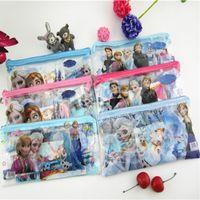 Wholesale Wholesale Princess Pencil Case - Anna Elsa Cartoon Transparent Pencil case Mickey princess pen bag Spiderman Stationary set C2432