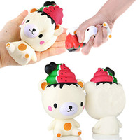 Wholesale Ice Cream Gifts Kids - Cute Jumbo Slow Rising Squishy Phone Straps Ice Cream Bear Cartoon Pendant Cream Scented Bread Kids Fun Toy Gift