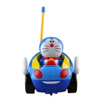 Wholesale Electric Car Toy Baby - New baby boys Doraemon Remote Control Electric toys car kids RC Car High speed Cute cat Cartoon musical light child Car toy 2107048