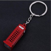 Wholesale Antique Metal Telephones - Vintage Telephone Booth British Keychain Miniature London Key Ring Diecast Metal Carabiner Keychain with Zinc Alloy for Gift