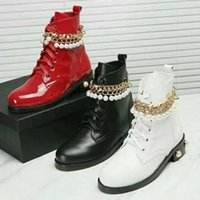 best red ankle boots chain  - 2017 new winter woman Martin Boots Metal chain Pearl decoration chunky heel Lace-Up boots free shipping ZE45