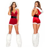 Wholesale Santa Claus Sexy - Sexy Red Christmas Bodysuit Backless Deep V Neck Jumpsuit Fancy Dress Women Santa Claus Cosplay Costume