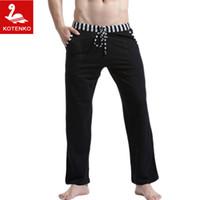 Wholesale Men Cotton Pyjamas - Wholesale-Men Sleep Lounge Loose pants Cotton mens Solid bottoms Breathable Men pants casual Man Pajamas Pants Trousers Home Wear Pyjamas