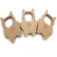 Natural Wood Baby Teether BPA Free Can Chew DIY Nursing Accessories Браслет / Ожерелье Pandent Teether Animal Cat Shape Activity Gym Toy