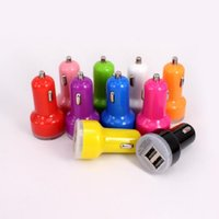Wholesale Mini Car Charger Usb Box - 2.1A dual mini usb car charger with display box charge for ipad iphone samsung tablet pc mp3 mp4