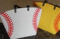 Wholesale soft soccer balls - USA black & white &yellow Blanks Cotton Softball Tote Bags Baseball Bag Football Bags Soccer ball Bag with Hasps Closure Sports Bag