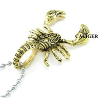 Wholesale Gold 18k 24k Chain - Punk 24K Gold Plated Scorpion Pendants Necklace 316L Stainless Steel Necklace Animal Scorpions Men Jewelry scorpio Insect Pendant Chain free