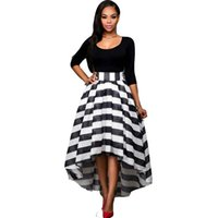 Wholesale Striped Maxi Skirts - New European Spring And Autumn New Literary Style Gauze Dress Boat Neck Shirt Striped Maxi Dress Two Piece Maxi Dress Skirt