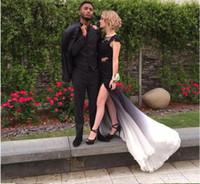Wholesale Straight Slit Prom Dresses - Sexy Design Black Chiffon Open Back Straight Scoop With Side Slit Evening Dresses Sweep Train vestido de festa prom gowns