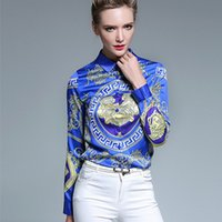 Wholesale Blusas Fashion - Women's Blouses Loose Elegant Long Sleeve Chiffon Blouse Tops Casual Vintage Printing Shirt Women Clothing Blusas